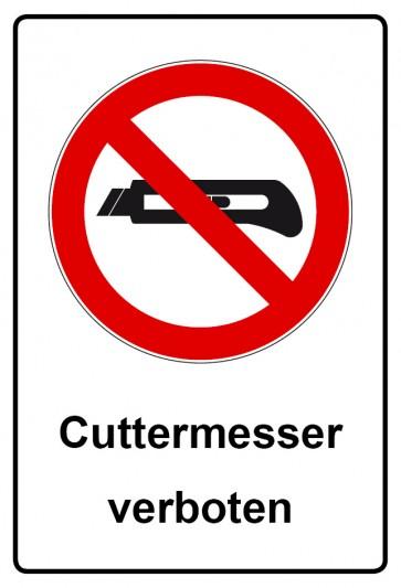 Kombi Aufkleber Cutter Messer verboten