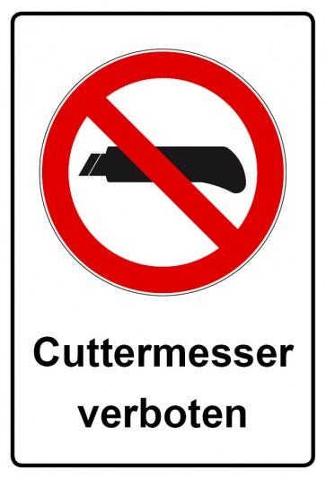 Kombi Aufkleber Cuttermesser verboten