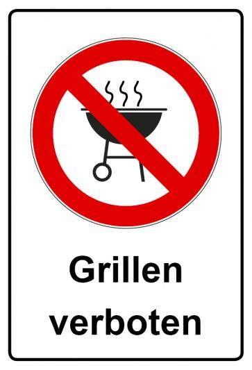 Aufkleber Verbotszeichen rechteckig mit Text Grillen verboten