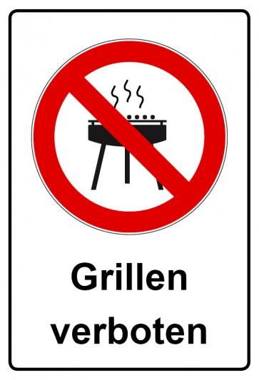 Aufkleber Verbotszeichen rechteckig mit Text Grillen verboten / Grillverbot