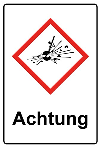 GHS Kombiaufkleber Bombe, explosive Stoffe Achtung