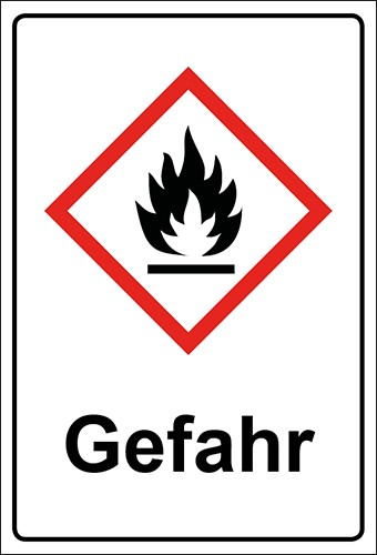GHS Kombiaufkleber Flamme, entzündbare Stoffe Gefahr