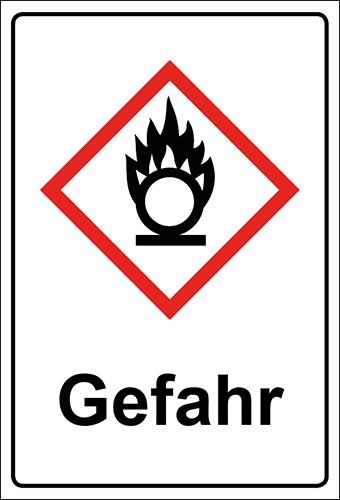 GHS Kombiaufkleber Flamme über Kreis, entzündend wirkende Stoffe Gefahr