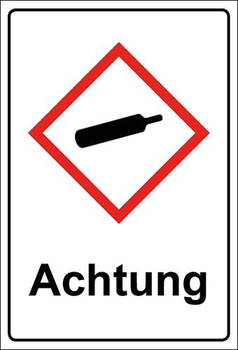 GHS Kombiaufkleber Gasflasche, unter Druck stehende Gase Achtung