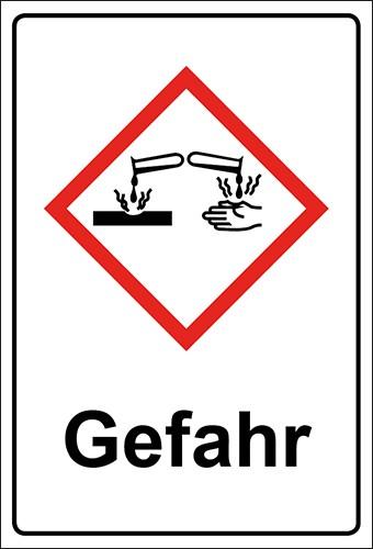 GHS Kombiaufkleber Ätzwirkung, Hautätzend Gefahr