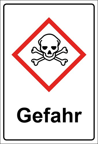 GHS Kombiaufkleber Totenkopf mit gekreuzten Knochen, akute Toxizität Gefahr