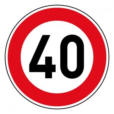 Geschwindigkeitsaufkleber Tempolimit 40 km/h