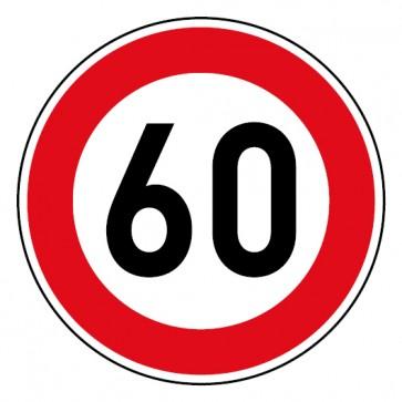 Geschwindigkeitsaufkleber Tempolimit 60 km/h