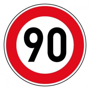 Geschwindigkeitsaufkleber Tempolimit 90 km/h