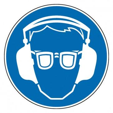 Gebotsschild Gehör- und Augenschutz benutzen