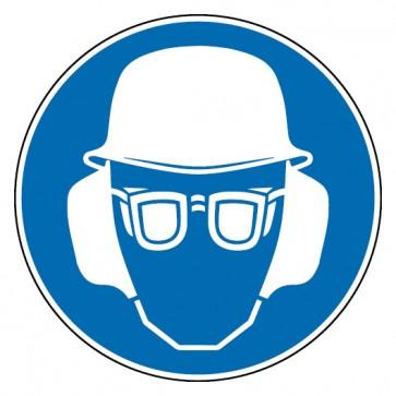 Gebotsschild Kopf-, Gehör- und Augenschutz benutzen