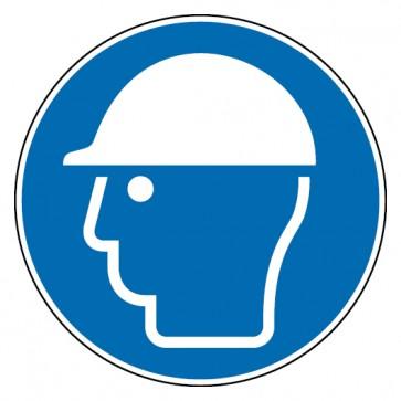 Aufkleber Kopfschutz benutzen