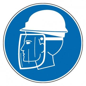 Aufkleber Helm und Gesichtsschutz tragen