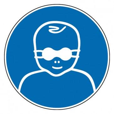 Gebotsschild Augenabschirmung für Patienten benutzen