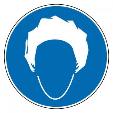 Gebotsschild Kopfhaube benutzen