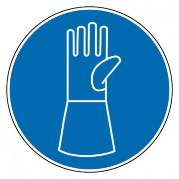 Aufkleber Schutzhandschuhe mit Pulsschutz benutzen