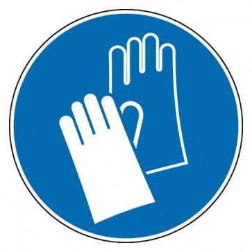 Aufkleber Handschutz benutzen