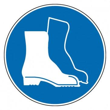 Aufkleber Fußschutz benutzen