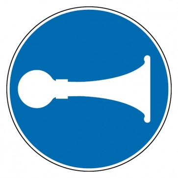 Gebotsschild Signalhorn Hupen