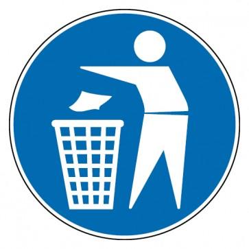 Aufkleber Mülleimer benutzen