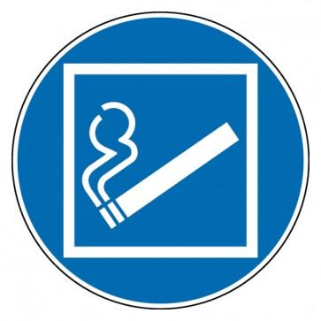 Gebotsschild Rauchen innerhalb des begrenzten Raumes gestattet