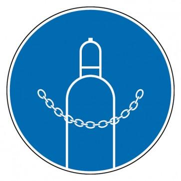 Aufkleber Druckgasflasche durch Kette sichern
