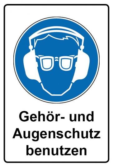 Kombi Aufkleber Gehör- und Augenschutz benutzen   Gebotszeichen