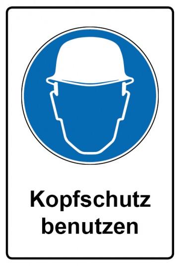 Kombi Aufkleber Kopfschutz benutzen   Gebotszeichen