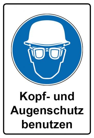 Kombi Aufkleber Kopf- und Augenschutz benutzen   Gebotszeichen