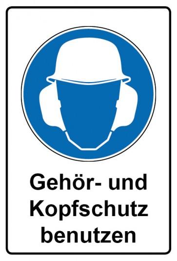 Kombi Schild Gehör- und Kopfschutz benutzen | Gebotszeichen