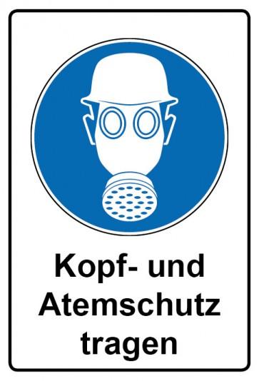 Kombi Aufkleber Kopf- und Atemschutz tragen | Gebotszeichen