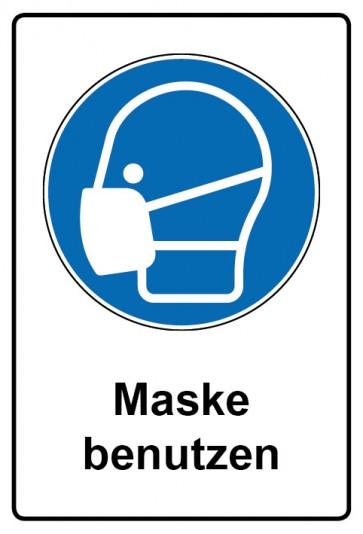 Kombi Aufkleber Maske benutzen | Gebotszeichen