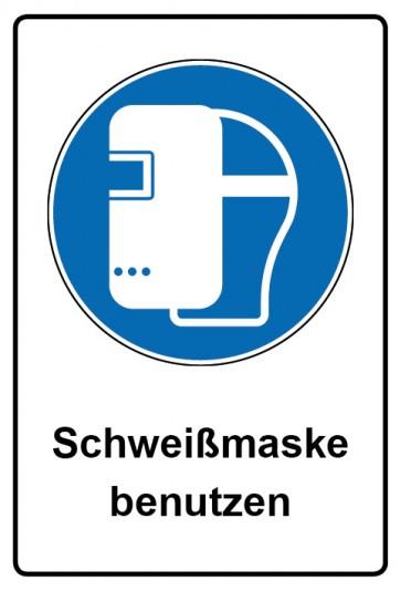 Kombi Aufkleber Schweißmaske benutzen | Gebotszeichen