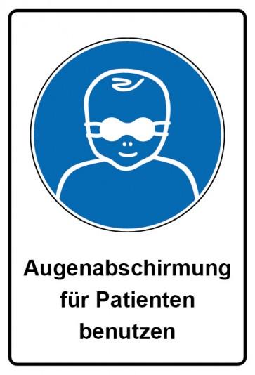 Kombi Aufkleber Augenabschirmung für Patienten benutzen | Gebotszeichen