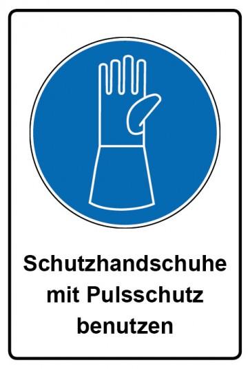 Kombi Aufkleber Schutzhandschuhe mit Pulsschutz benutzen