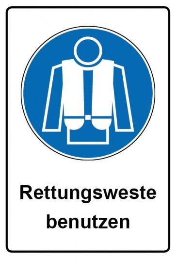 Kombi Aufkleber Rettungsweste benutzen   Gebotszeichen