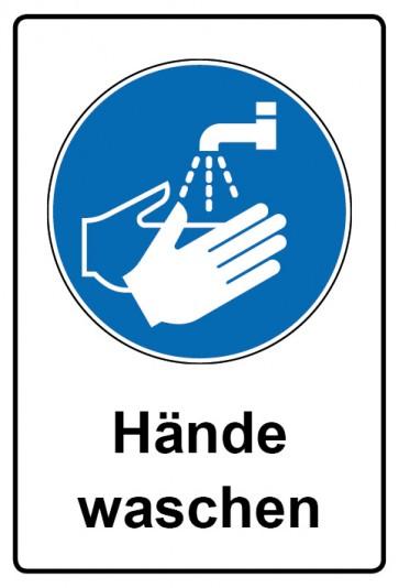 Kombi Aufkleber Hände waschen | Gebotszeichen