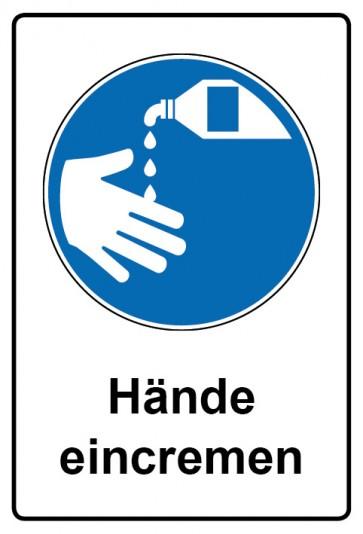 Kombi Aufkleber Hände eincremen | Gebotszeichen
