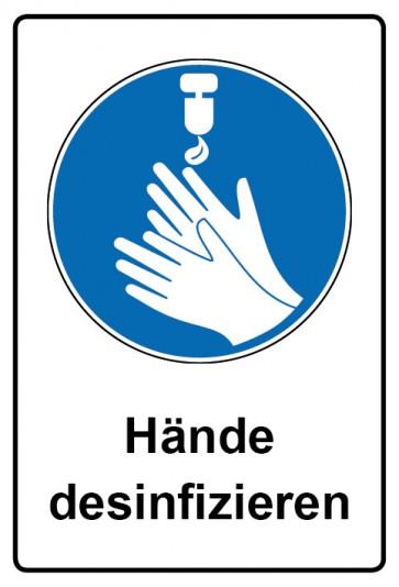 Kombi Aufkleber Hände desinfizieren | Gebotszeichen