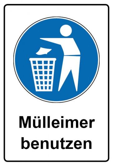 Kombi Aufkleber Mülleimer benutzen | Gebotszeichen