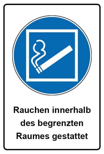 Kombi Aufkleber Rauchen innerhalb des begrenzten Raumes gestattet | Gebotszeichen