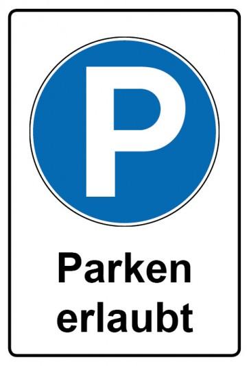 Kombi Aufkleber Parken erlaubt | Gebotszeichen