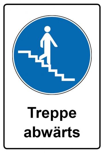 Kombi Aufkleber Treppe abwärts   Gebotszeichen