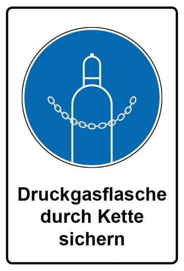 Kombi Aufkleber Druckgasflasche durch Kette sichern | Gebotszeichen