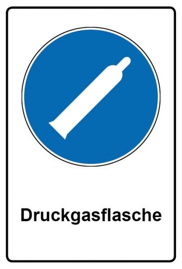 Kombi Schild Druckgasflasche | Gebotszeichen