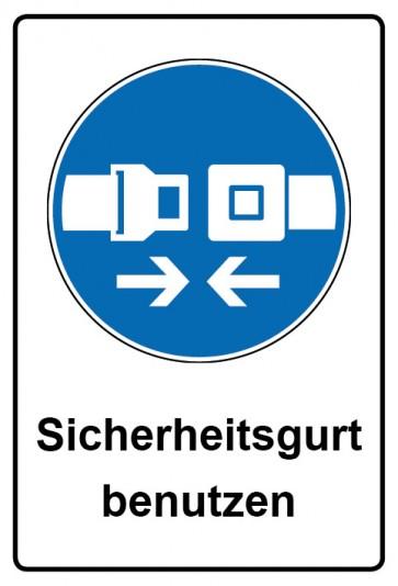 Kombi Aufkleber Sicherheitsgurt benutzen   Gebotszeichen
