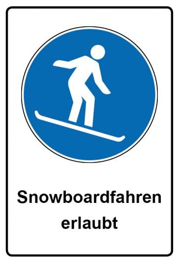 Kombi Aufkleber Snowboardfahren erlaubt | Gebotszeichen