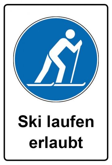 Kombi Aufkleber Ski laufen erlaubt   Gebotszeichen