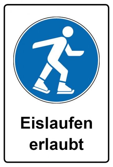 Kombi Schild Eislaufen erlaubt | Gebotszeichen
