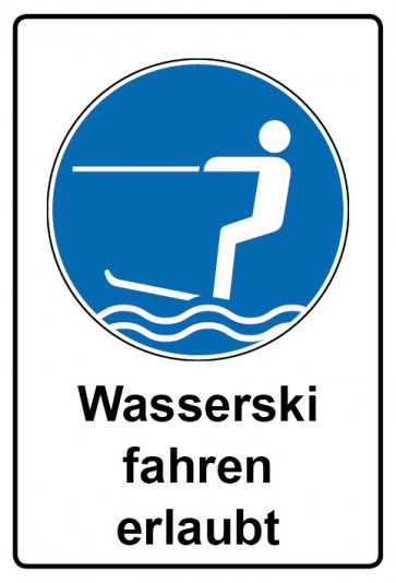 Kombi Aufkleber Wasserski fahren erlaubt | Gebotszeichen